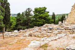 Ancient ruins of Knossos palace, largest Bronze Age archaeological site on Crete - stock photo
