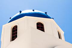 Oia church, Santorini island, Cyclades, Greece Stock Photos