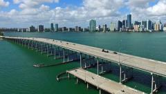 Aerial 4K Rickenbacker Causeway bridge Biscayne bay in Key Biscayne, Florida Stock Footage