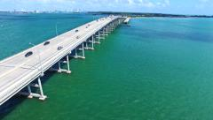 Aerial 4K Rickenbacker Causeway bridge Biscayne bay in Key Biscayne, Florida - stock footage