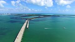 Stock Video Footage of Aerial 4K Rickenbacker Causeway bridge Biscayne bay in Key Biscayne, Florida