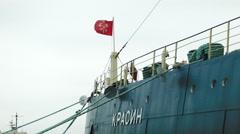 Bow of Krasin soviet arctic icebreaker ship in Russia Stock Footage