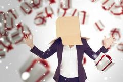 Composite image of anonymous businesswoman with her hands up - stock photo