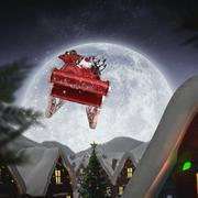Composite image of santa flying his sleigh - stock illustration