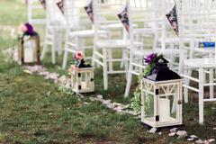 Wedding lantern with candle decorated flower Stock Photos