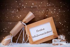 Gift With Text Frohe Weihnachten Mean Merry Christmas, Snowflake Kuvituskuvat