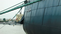 Hull of a soviet icebreaker ship in Russia - stock footage