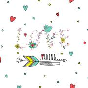 Stock Illustration of Floral elements of vintage. Phrase love is loading