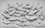 Stock Photo of White thai art stucco wall