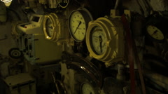 Old instrument on a Soviet nuclear submarine in Russia Stock Footage