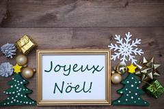 Frame With Decoration, Joyeux Noel Mean Merry Christmas - stock photo