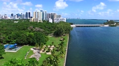 Aerial 4K Biscayne bay waterfront homes in Miami, Florida Stock Footage