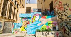 urban wall with street art and graffiti in Potenza - stock photo
