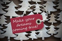 Red Christmas Label Make Your Dreams Coming True Stock Photos