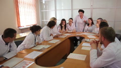 ODESSA, UKRAINE - The 12 th of May 2015. Interns in studying process. Stock Footage