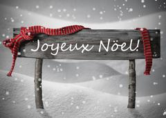 Sign Joyeux Noel Means Merry Christmas,Snow, Snowfalkes Stock Photos