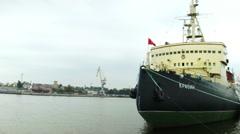 Krasin Soviet arctic icebreaker ship in the harbor in Russia Stock Footage