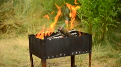 Wooden logs burn in a brazier or barbecue outdoors in summer Stock Footage
