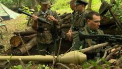 German soldiers in foxhole Stock Footage