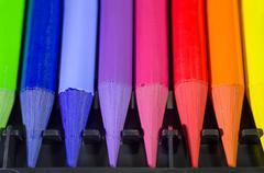 Woodless Colored Pencil Heads Macro Closeup - stock photo
