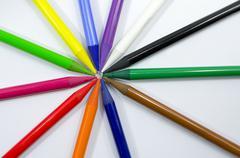 Woodless Colored Pencils Closeup Stock Photos