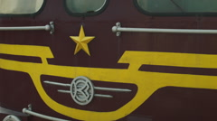 Front of a Soviet locomotive cab in Russia Stock Footage