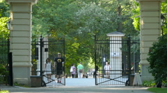 One of the entrance gates in Lazienki Park, Warsaw Stock Footage