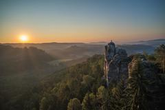 Bastei rock formations, Saxon Switzerland National Park, Germany - stock photo