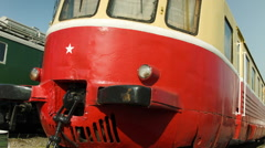 View from below on a cab of a Soviet locomotive in Russia - stock footage