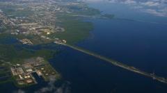 Aerial shot of Gandy Bridge crossing Tampa Bay, 4K Stock Footage