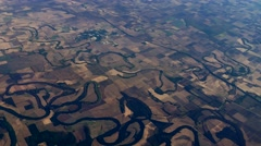 Rivers winding through farmland Aerial, 4K Stock Footage
