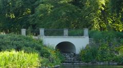 Arch bridge in Lazienki Park, Warsaw Stock Footage