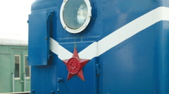 Red star a Soviet locomotive train in Russia - stock footage