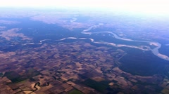 Aerial over Mississippi RIver and farmland, 4K - stock footage