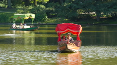 Boat ride on the lake in Lazienki park, Warsaw Stock Footage