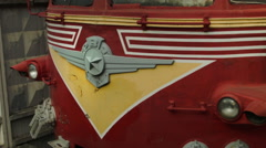 Bumper of a Soviet locomotive cab in Russia - stock footage