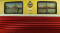 Sleeper car windows Soviet locomotive in Russia - stock footage