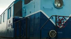 Blue Soviet locomotive train in Russia - stock footage