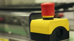 Emergency red button of industrial machine Stock Footage