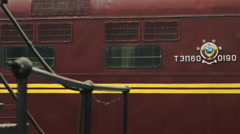 Soviet locomotive maroon cab in Russia Stock Footage