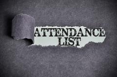 Attendance list word under torn black sugar paper Stock Photos