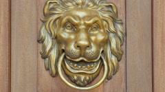 Bronze lion door knocker, Warsaw Stock Footage