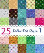 Polka dot paper. Set of 25 seamess patterns Stock Illustration