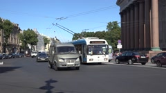 A trolley bus (in 4k) in St Petersburg, Russia. Stock Footage
