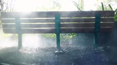 Cool shot of a bench at a jungle or forest with smoke and great lighting - stock footage