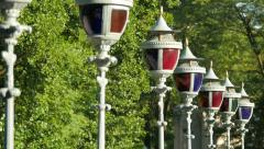 Vintage street lights with colored glass in Lazienki Park, Warsaw Stock Footage