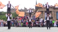 Traditional Bavarian parade.German flag-wavers and folk dances. Stock Footage