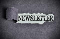 newsletter word under torn black sugar paper - stock photo