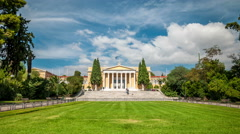 Zappeion building in the National Gardens of Athens Stock Footage