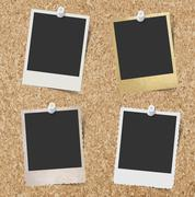 Stock Illustration of Blank instant photo frames pinned to cork board background